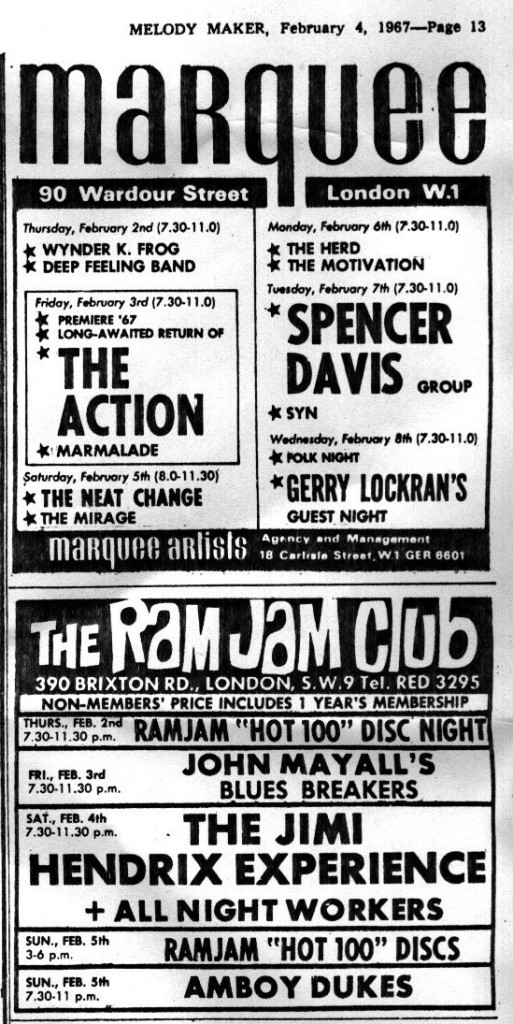 The All Night Workers support Jimi Hendrix at the Ram Jam Club, Melody Maker advert, 4 February, 1967