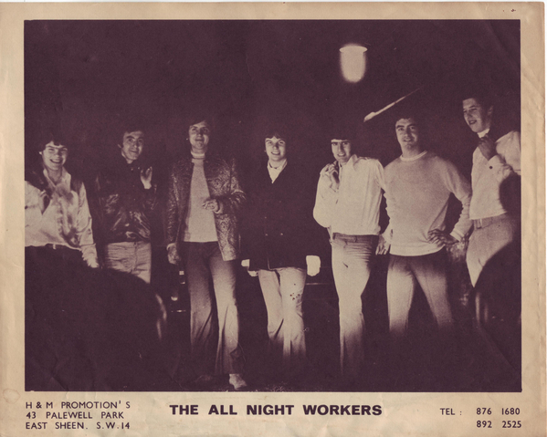The All Night Workers, summer '68, left to right: Johnny Baker, Malcolm Randall, Iain Pitwell, Doug Ayris, Mick Wheeler, Brian Mansell and Geoff Glover