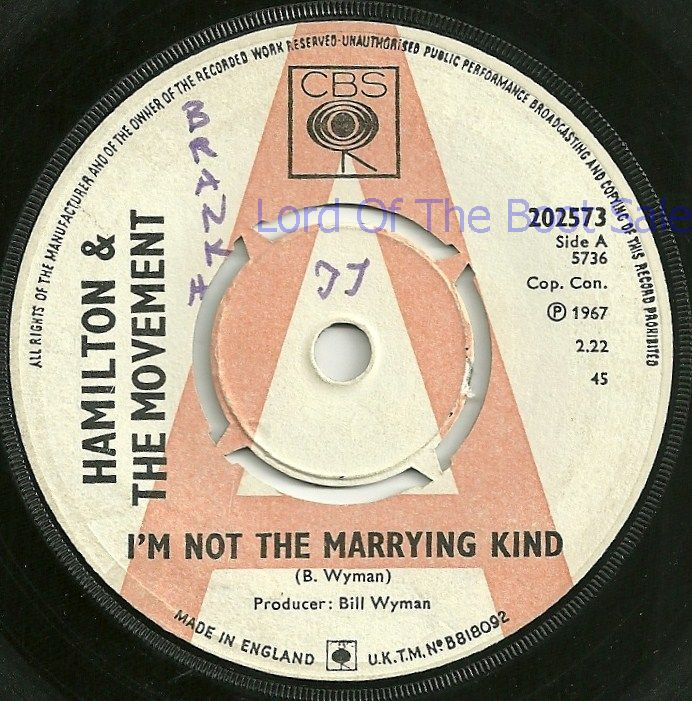 "Hamilton and The Movement, ""I'm Not The Marrying Kind"", CBS Single, 1967"