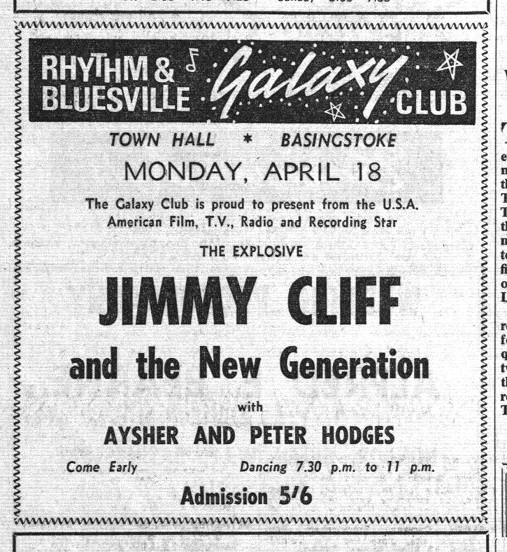 Jimmy Cliff and the New Generation , Galaxy, Basingstoke, 1966 (Advert from Hants and Berkshire Gazette)