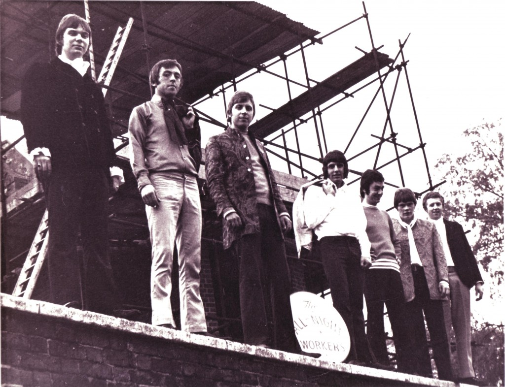 The All Night Workers, spring 1968. Left to right: Doug Ayris, Malcolm Randall, Iain Pitwell, Mick Wheeler, Brian Mansell, Johnny Baker and Geoff Glover (Photo from Brian Mansell)