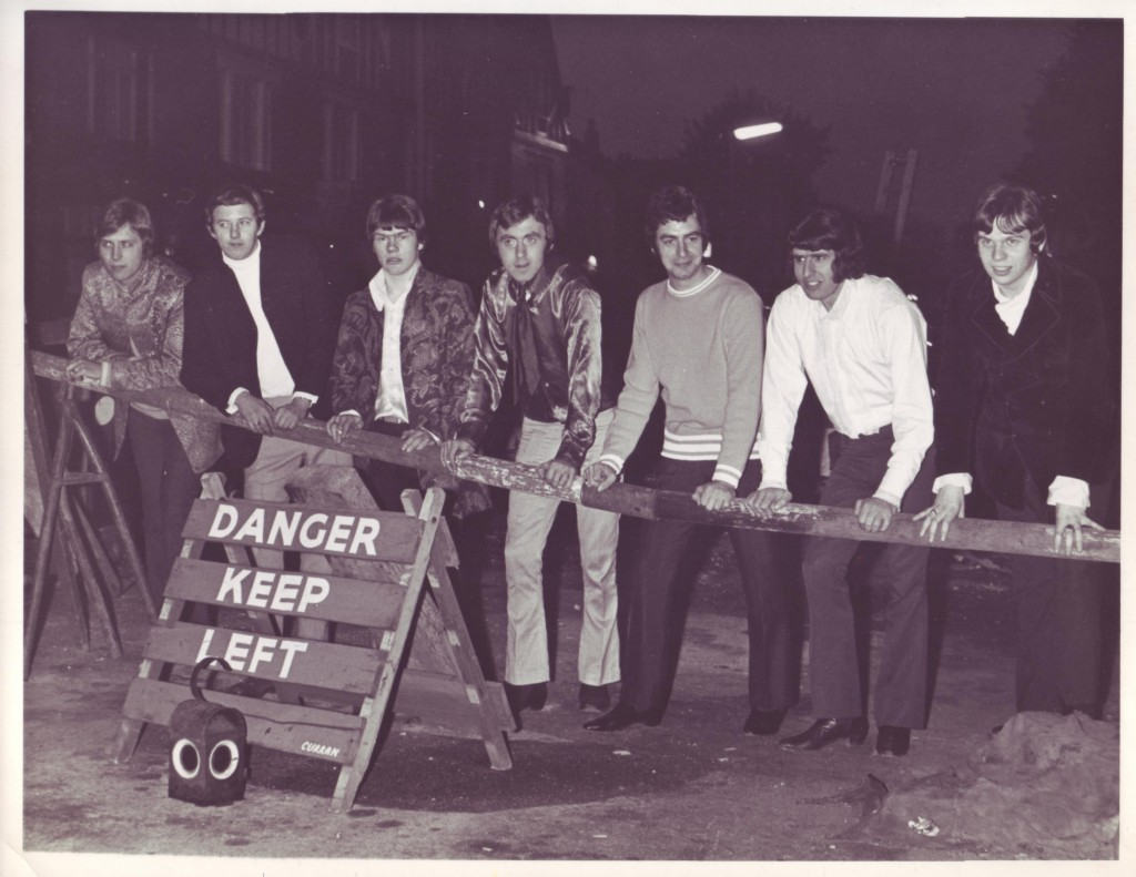 The All Night Workers, Twickenham, spring 1968. Left to right: Iain Pitwell, Geoff Glover, Johnny Baker, Malcolm Randall, Brian Mansell, Mick Wheeler and Doug Ayris (photo from Brian Mansell)