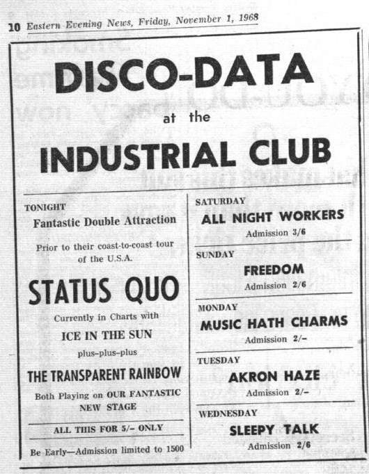 The All Night Workers play in Norwich, November 1968 (image from Eastern Evening News)