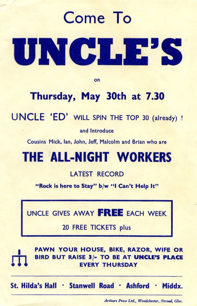 The All Night Workers publicise recordings at Uncle's, Ashford (image from Brian Mansell)