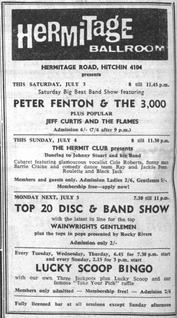 Wainwright's Gentlemen Hermitage Ballroom Hitchin July 1965