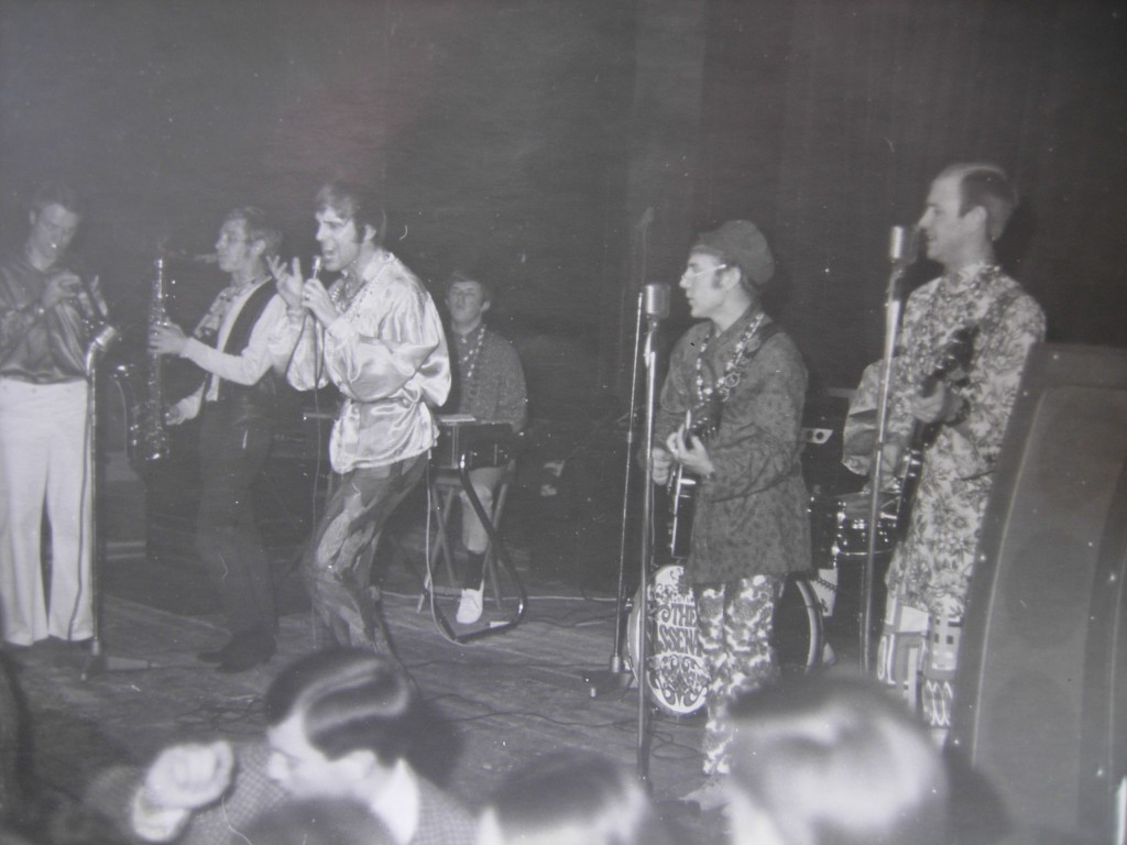 The Sassenachs, left to right: Fred Brown, fill-in saxophonist, Danny Shiret, John Edwards, Eddie Eager, Reg Bodman